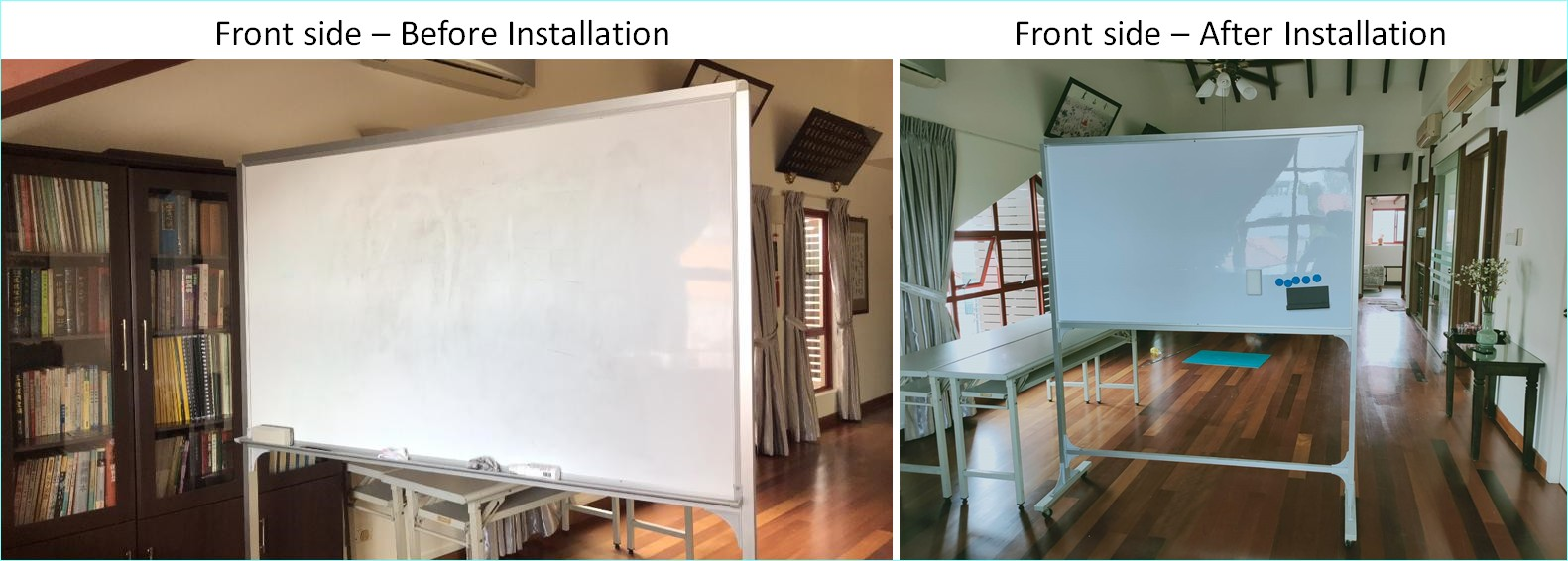 Installation of Magnetic Mobile Whiteboard (Front side)