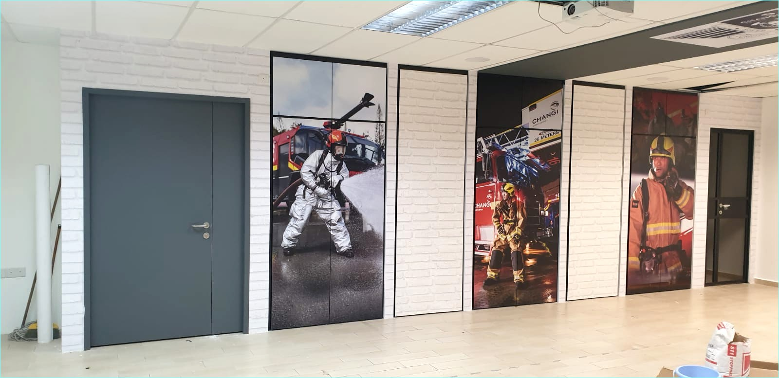 Premium Magnetic Whiteboard, Magnetic Wall Mural and Stickers installation at Fire Station